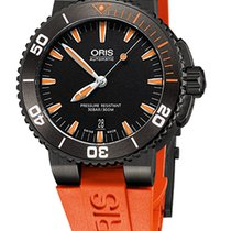 Oris Aquis Date, Black, Orange Rubber Bracelet