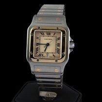 Cartier santos steel and gold quartz men size