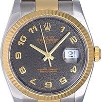 Rolex Men's 2-Tone Datejust Watch 116233 Black Jubilee Dial