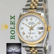 Rolex Datejust 18k Yellow Gold/Steel White Roman Dial Ladies...