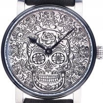 Schaumburg Watch Unique Skull Stahl Handaufzug Armband Leder...