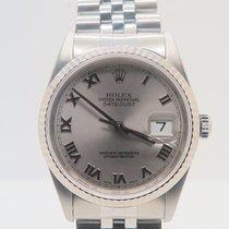 Rolex Datejust Grey Roman Dial White Gold Bezel 36mm