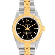 Rolex Nondate Ladies Steel 18k Yellow Gold Black Dial Watch 76193