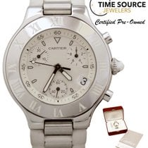 Cartier Must 21 Chronograph Stainless White Dial 2424 B&P...