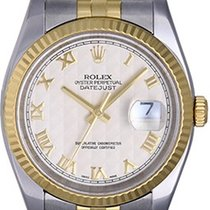 Rolex Datejust Men's 2-Tone Watch 116233 Ivory Pyramid Dial