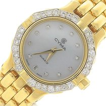 Cyma 18K Yellow Gold Swiss Quartz MOP Diamond Date Watch 24mm