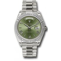 Rolex Day-Date 40 228239 18K White Gold 40MM Olive Green Dial