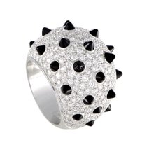 Cartier Panthere 18K White Gold Diamond Pave and Onyx Studs Ring