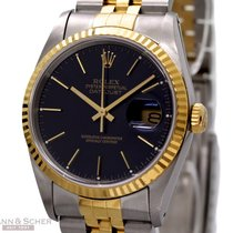 Rolex Datejust Ref-16233 18k Yellow Gold/Stainless Steel Blue...