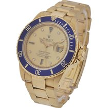 Rolex Used 16618 Submariner All Gold with Champagne Diamond...
