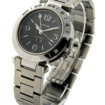Cartier W31049M7 Pasha C - Steel GMT on Bracelet with Black Dial