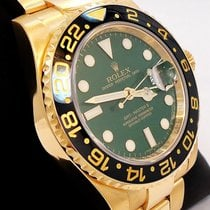Rolex Gmt Master II 116718 18k Yellow Gold Green Dial Ceramic...