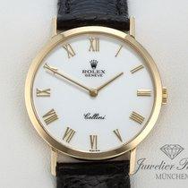 Rolex Cellini Gelbgold 750 Leder Handaufzug 4112