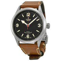 Tudor Heritage Ranger Automatic Black Dial Brown Leather...