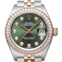 Rolex Lady-Datejust 28 279381RBR Olive Diamant Jubile-Band