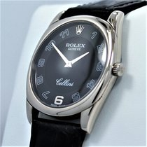 Rolex Cellini Danaos 4233 18k White Gold Black Dial Leather...