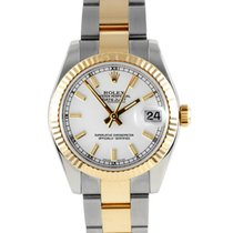 """Rolex 31MM """"New Style"""" Midsize 18K/SS Datejust - White..."""