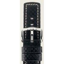 Hirsch Uhrenarmband Leder Carbon schwarz L 02592050-2-22 22mm
