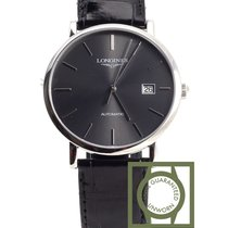 Longines Elegant 39mm black dial crocodile strap NEW