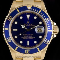 Rolex 18k Yellow Gold O/P Blue Dial Submariner Date Gents 16618