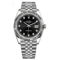 Rolex Datejust 41 Steel & White Gold Black Diamond Dial...