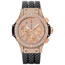 Hublot Big Bang Full Pave Chronograph 18k Rose Gold Diamond Bezel