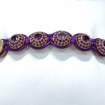 Shamballa Bracelet 18k Rose Gold With Purple Semi Precious...