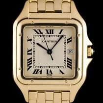 Cartier 18k Yellow Gold Silver Roman Dial Panthere Gents W25014B9