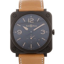 Bell & Ross Aviation 39 Date Beige Leather Strap Heritage