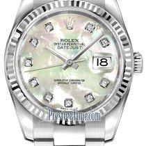 Rolex Datejust 36mm Stainless Steel 116234 White MOP Diamond...