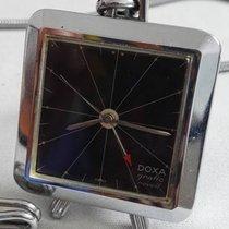Doxa Grafic Reveil Travel/Table Clock Alarm Stainless Steel 1980
