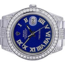 Rolex Mens Rolex Datejust II 116300 Blue Dial Iced Out 41MM...