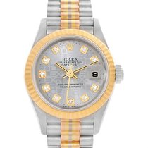 Rolex President Datejust Tridor 18k Gold Diamond Ladies Watch...