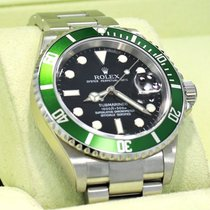 Rolex Submariner 16610lv Anniversary Model Green Bezel Black...