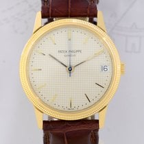 Patek Philippe Calatrava 18K gold rar dial dots blue hands...