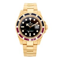 Rolex GMT-Master II 18K Solid Gold Diamond And Rubies Automatic