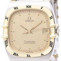 Omega Polished Omega Constellation 18k Gold Steel Quartz Mens...