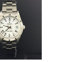 Rolex Date 34mm Stainless Steel Vintage White Roman Dial...