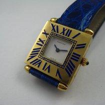 Cartier 18K YELLOW GOLD QUADRANT GRAND MODELE BLUE ENAMEL