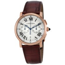 Cartier Rotonde Silver Sunday Dial 18k Pinks Gold Men's Watch