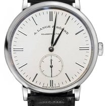 A. Lange & Söhne Saxonia 18k White Gold Manual Leather...