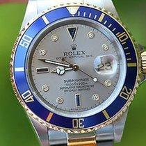 Rolex Mens 2tone Submariner Champagne Gold Diamond Sapphire...