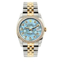 Rolex Datejust Men's 36mm Blue Floral Dial Yellow Gold And...
