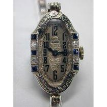 PIERCE Brillant/ Saphir Weissgold Damenarmbanduhr von 1910
