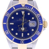 Rolex Submariner 16613 40 Mm Blue Dial Wrist Watch Gold Clasp