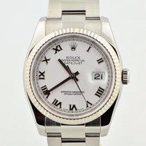 Rolex Datejust Stainless Steel White Roman Fluted Bezel 116234