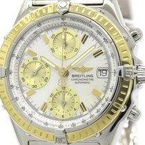 Breitling Chronomat Mop Dial 18k Gold Steel Watch D13352...