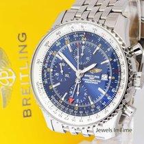 Breitling Navitimer World GMT Chronograph Steel Blue Dial Mens...