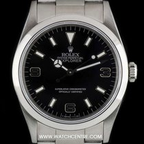 Rolex S/Steel Rare Black Dial Blackout Explorer I B&P 14270