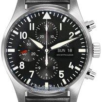 IWC Pilot's Watch Chronograph Black Dial Calfskin Strap